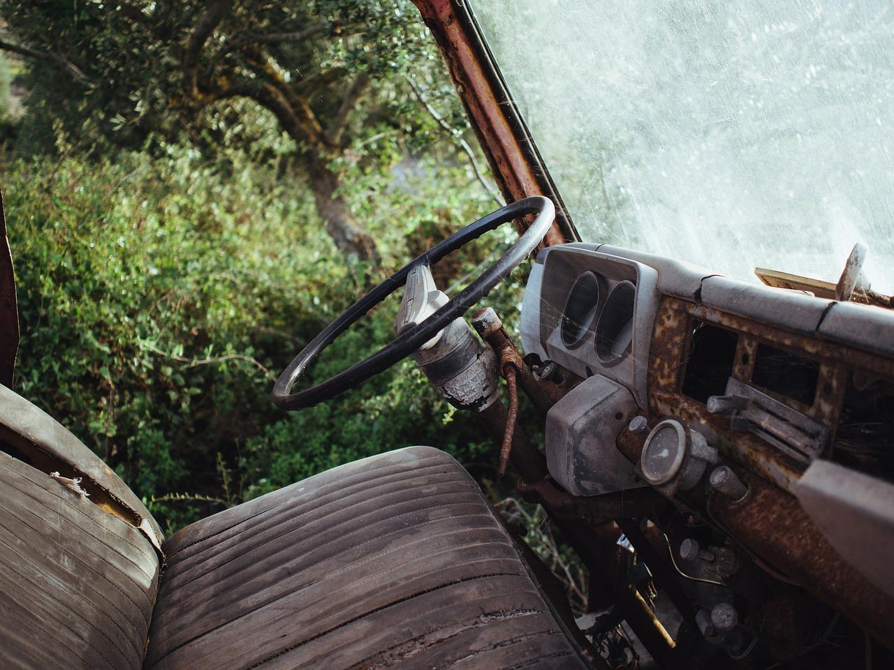 truck, steering wheel, wheel